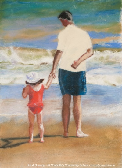 Painting of man and child